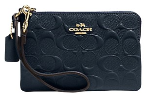 Coach COACH F65752 ZIP WRISTLET DEBOSSED LEATHER MIDNIGHT