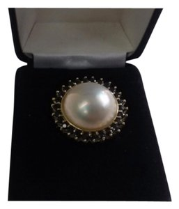 14 K YELLOW GOLD NATURAL WHITE PEARL NAVY BLUE SAPPHIRE COCKTAIL DOME RING SIZE 7.0