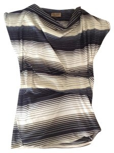 Karen Zambos short dress Black & Creme Stripes Vintage Couture Ruched on Tradesy