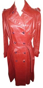 Etienne Aigner Vintage Leather Belted Burgundy Boho Sexy 1970s Classic Leather Leather Oxblood Trench Coat