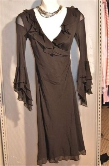 Express Sheer 100% Silk Size 1 / 2 Fully Lined (except Sleeves) V-neck Ruffles Around Collar Chest And Sleeve Cuffs Wide Dress