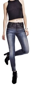 A.B.S. by Allen Schwartz Acid Wash Leather Cropped Skinny Jeans-Acid