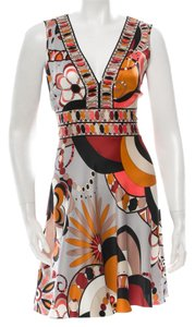 Emilio Pucci V-neck Multicolor Summer 3/4 Sleeve Longsleeve Silk Belted Logo Monogram Multicolore New Abstract M Medium L Large Dress