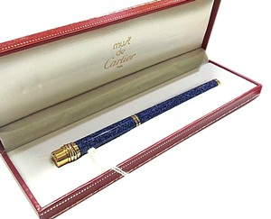 Cartier CARTIER Must Blue Marble Lacquer & 18 Karat Yellow Gold Pen