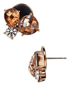 Kate Spade kate spade Fame and Flowers Rose Gold & Black Crystal and Stone Studs 12k