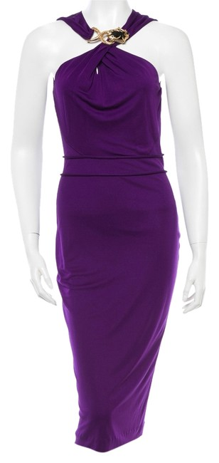 Item - Purple Gold Tone Embellishment Sexy New 40 S Small Knee Length Night Out Dress Size 4 (S)