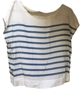 Joie Top White/ cream with blue stripes
