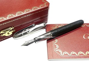 Cartier CARTIER LIMITED EDITION LOUIS BLACK CALFSKIN & 18 KARAT WHITE GOLD PEN