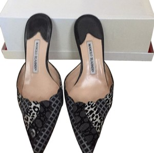 Manolo Blahnik black /white Mules