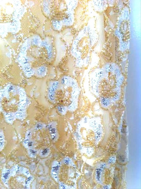 H&M Man Repeller Collection Beaded Embroidered Metallic Skirt Gold, Yellow