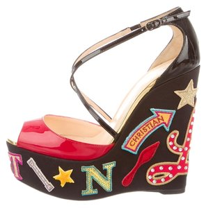 Christian Louboutin Nude Beige Tan Patent Black, Red, Multicolor Sandals