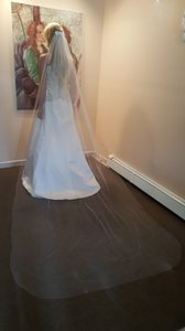 Cathedral Veil With Lace Hair Comb Pearls Sequin