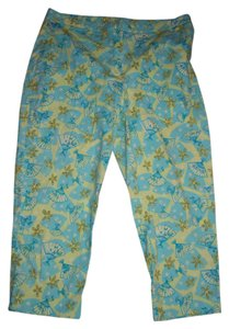 Lilly Pulitzer Cropped Capri Beach Summer Disney Chinese Fans Resort Vacation Capri/Cropped Pants Lime green Teal blue