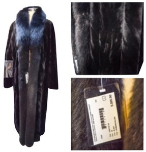 Sheared reversible mink coat w fox fur tux collar Fur Coat