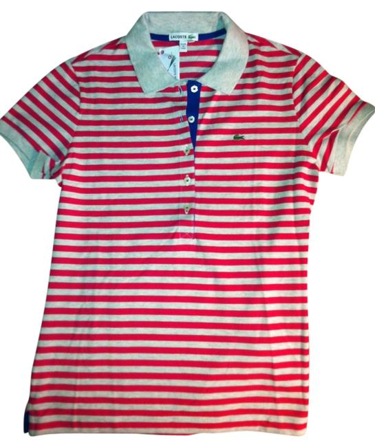 Lacoste Polo Button Down Shirt Pink and cream stripes, blue trim