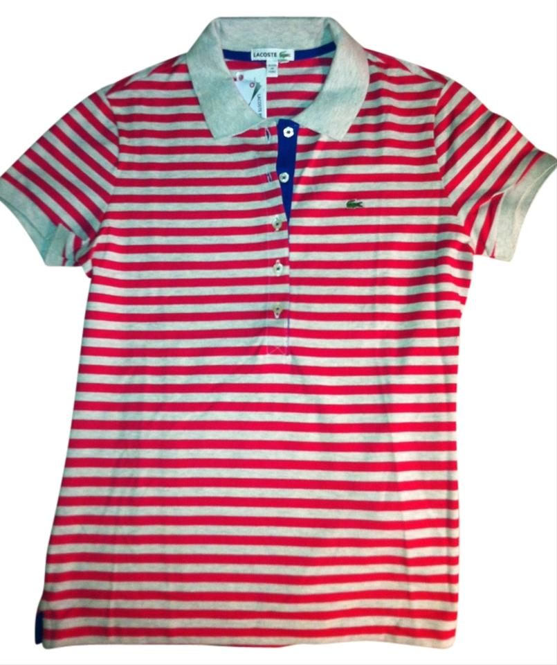 ad99fa7f Lacoste Pink and Cream Stripes Blue Trim Cotton Polo Button-down Top Size 4  (S) 63% off retail