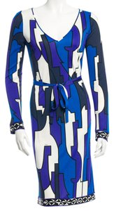 Emilio Pucci Longsleeve Multicolor Print Floral New Monogram Logo Silk Small S 4 38 Xs V-neck 8 42 M Medium Dress