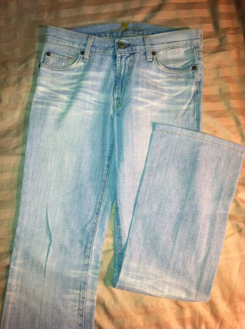 7 For All Mankind Seven Boot Cut Jeans-Light Wash Image 4
