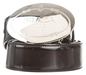 Prada Black patent leather Prada silver logo buckle belt S Small