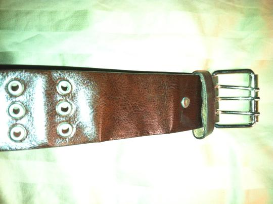 Urban Outfitters Chocolate brown belt with silver open stud detail Image 1