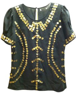 Bar III Chiffon Top Black/gold