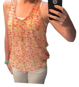 American Eagle Outfitters Top Multi-color: White, orange, pink, red