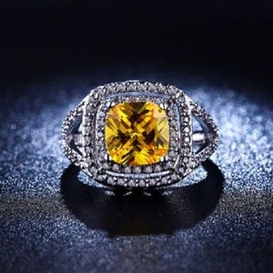 Elegant Diamonique Silver Filled Canary Yellow Cz Wedding Ring Size 8