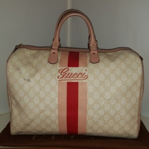 Gucci Satchel in light beige with a 2 tone pink and red