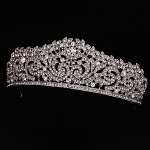 Silver Plated Bridal Tiara Austrian Crystals With Front Comb