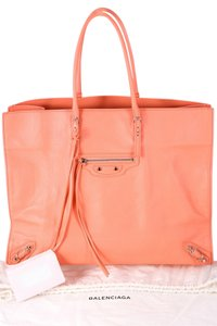 Balenciaga Papier Pink Front Zipper 2 Slip Pockets Tote in Coral
