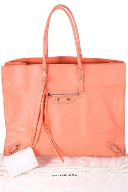 Item - Papier A4 Zip Around Textured-leather Coral Grained Leather Tote