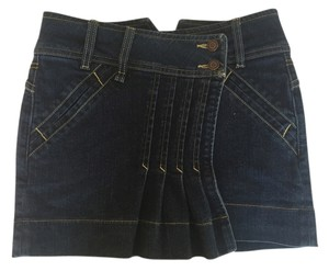bebe Denim Denim Mini New Mini Pleated Mini Skirt Blue