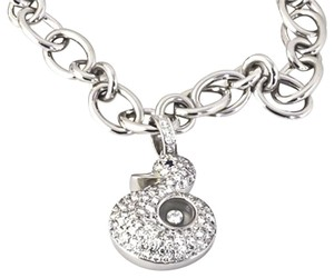 Chopard Brand New Happy Diamonds Duck Charm Bracelet in 18k White Gold with Sapphire, .93TCW, Reference No. 855887-1001, 7.5