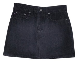 Polo Ralph Lauren Faded Denim Vintage Mini Mini Skirt Charcoal