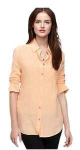 Equipment Silk Button Down Oversized Top orange