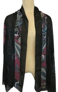 Kabbaj Scarf Wrap Black With Pink Blue Paisley Print Shawl Length 68 Inches Long
