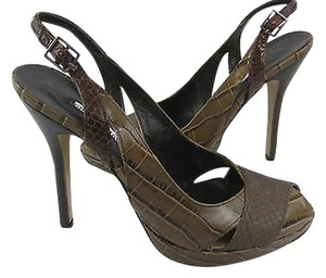 Charles David 10b Peep Toe Ankle Strap Heel Stiletto Pumps Leather Brown Boots
