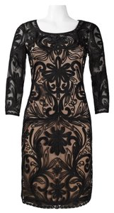 Sue Wong 3/4 Sleeve Embroidered Mesh A-line Dress