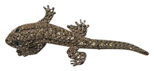 Other Vintage Runway Statement Large Lizard Gecko Rhinestone Brooch Pin