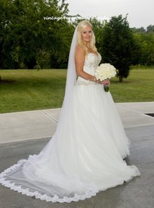 Bridal Cathedral Veil Ivory With Beaded Lace 1 Tier