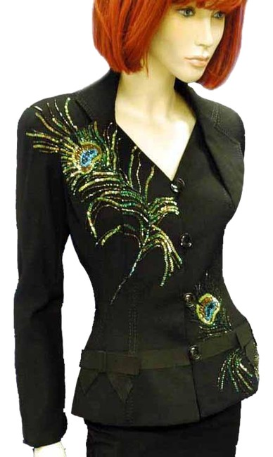 Item - Black Embroidered Peacock Feathers Cardigan Size 8 (M)