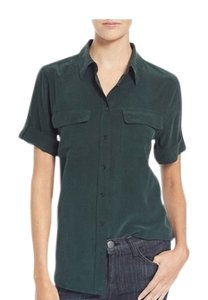 Equipment Silk Button Down Top scarab green