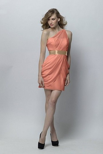 Wtoo Coral Crinkle Chiffon 296 Modern Bridesmaid/Mob Dress Size 2 (XS)