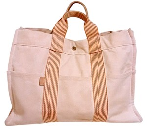 Herms Hermes Canvas Tote in Orange Beige Tan