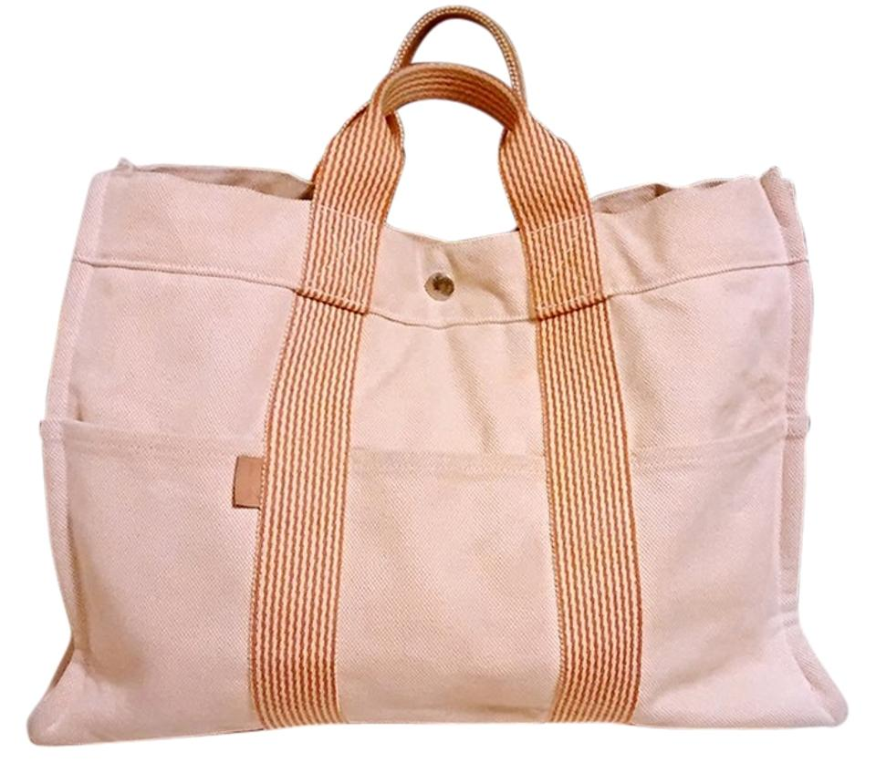 Herm S Unisex Largest Orange Beige Tan Canvas Tote Tradesy