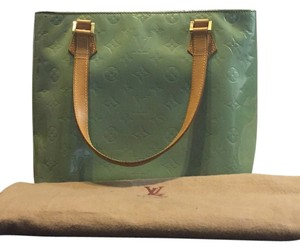 Louis Vuitton Monogram Patent Leather Vernis Houston Patina Tote in Green