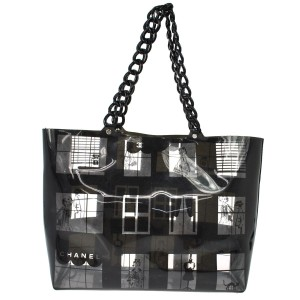 Chanel Mirror Tote Black And White Shoulder Bag