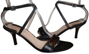 Versace Leather Silver Hardware Black Sandals