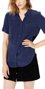 Equipment Silk Button Down Slim Signature Short Sleeve Top peacoat
