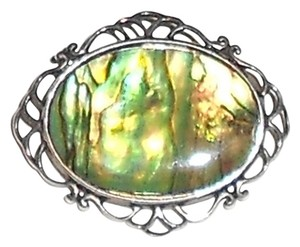 Other Sterling silver 2 inch green abalone pin